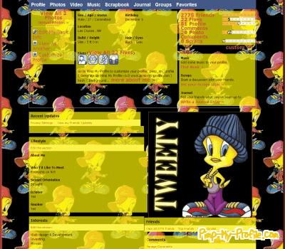 Tweety Bird hi5 Layouts - Pimp-My-Profile.com