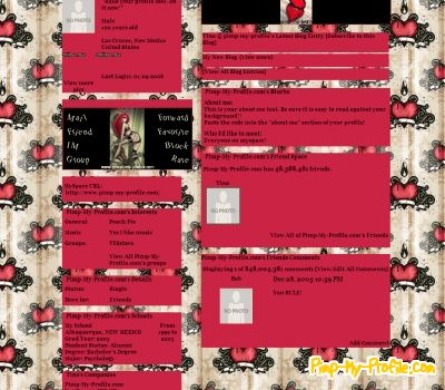 Red Hearts Black Swirls Wallpaper Tumblr Themes Pimp My Profile Com