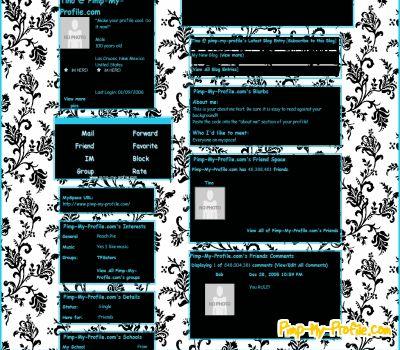 Classic black white floral myspace layouts pimp my profile com