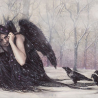 Crow Angel Woman in Snow