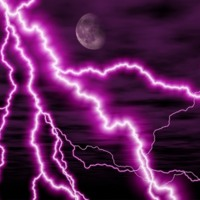 Purple moon and lightning