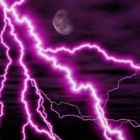 Purple moon and lightning