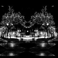 Black & White City Winter Scene