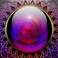 Purple, Blue & Red Swirled Gem