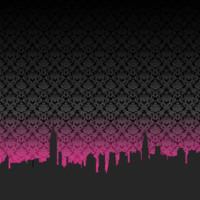 Black & Fuschia New York Skyline