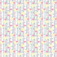 White, Pink, Blue, Peach Hearts & Stripes