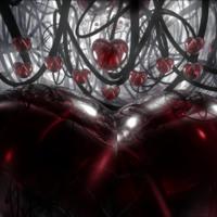 Dark Glass Hearts & Grey Swirls