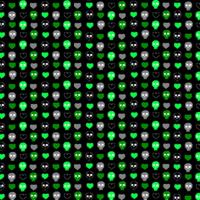 Lime Green Skulls & Heart