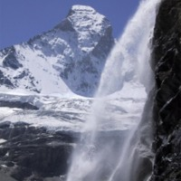 Snowy Mountain Waterfall