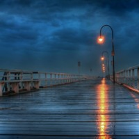 Ocean Pier at Night