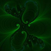 Green Swirls & Stars on Black