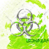 Silver Biohazard on White & Lime Green