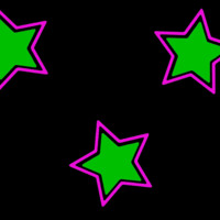 Pink & Green Stars on Black