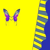 Purple & Blue Butterflies on Yellow