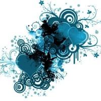 Auqa Blue Heart & Circles Design