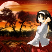 Sad Anime Girl in Red Field
