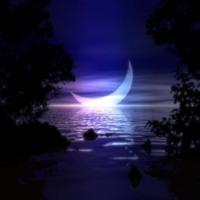 Crescent Moon Over Water