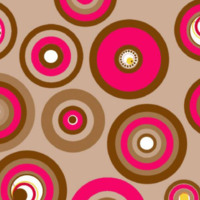 Brown.pink & yellow retro circles