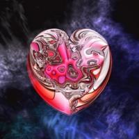 Metallic Pink Heart in Blue Smoke