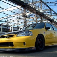 Yellow Honda Civic