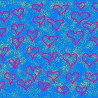 Pink Scribble Hearts on Blue