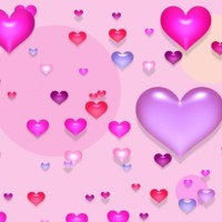 3D Pink & Purple Hearts