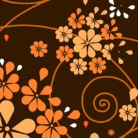 Orange retro flowers