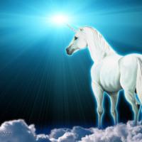White Unicorn in Clouds