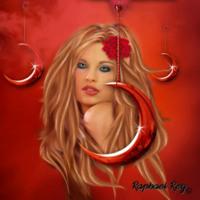 Red Midnight Crescent Moon Goddess