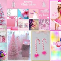 Pink Girly Christmas Collage