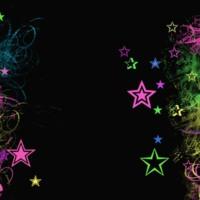 Colorful Stars on Swirls on Black