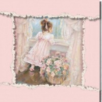 Victorian Girl in Pastel Pink