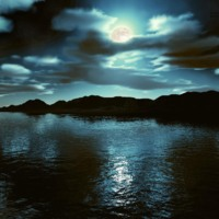 Dark Moon Over Lake