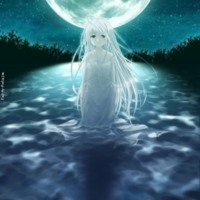 Sad Water Fairy Under Full Moon