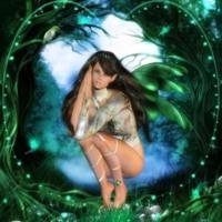 Green Fairie in Woods
