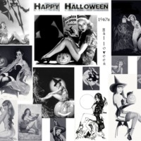 Vintage Pin-Up Halloween Girls Collage