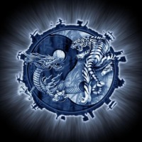 Blue Yin Yang w/ Dragon & Tiger