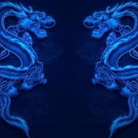 Blue Chinese Dragon Pair