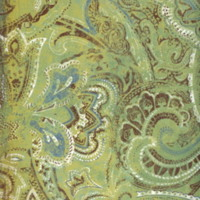 Distressed Green, Brown & Blue Paisley