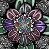 Abstract Floral Design in Purple Pink & Green