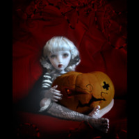 Little Goth Girl & Pumpkins