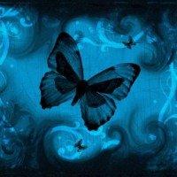 Blue Butterfly & Black Smoke Swirls