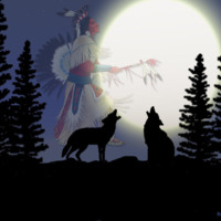 Howling Wolves & Native American Dancer