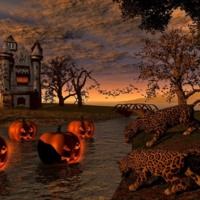 Haunted Castle w/ Moat, Leopard & Pumpkins