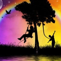 Children Playing Under Rainbow