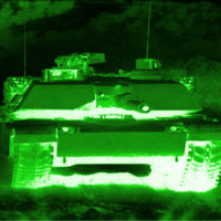 Tank in green light