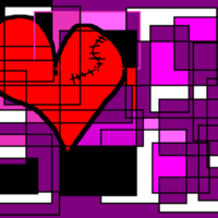 Stiched Heart & Purple Rectangles
