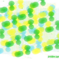 Yellow.blue & green ink blots