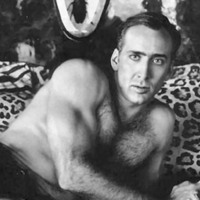 Nicolas Cage on Leopard Print