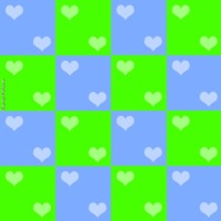 Blue and Green Heart Checkers
